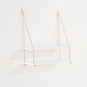 Thames Double Rope Shelf, White Effect Foil Finish