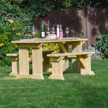Tinwell Picnic Table And Bench Set 4ft Light Green