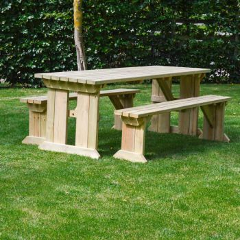 Tinwell Picnic Table And Bench Set 6ft Light Green