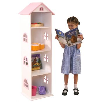 Tall White and Pink Dollhouse Bookcase with Pink Roof