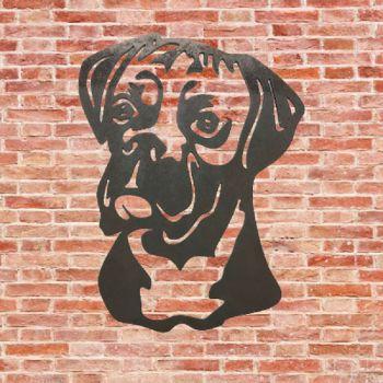 Boxer Dog Head Metal Wall Art - Large
