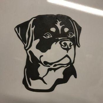 Rottweiler Dog Head Metal Wall Art - Large