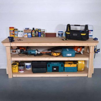 Work Bench 6Ft + Shelf- MDF Light Green