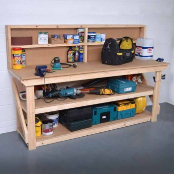 Work Bench with Back Panel 6Ft + Shelf - MDF
