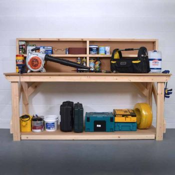 Work Bench with Back Panel 7Ft - MDF Light Green
