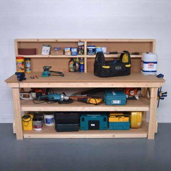 Work Bench with Back Panel 8Ft + Shelf - MDF Light Green