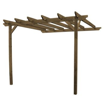 Wall Mounted Pergola and Decking Kit 2.4M - Rustic Brown