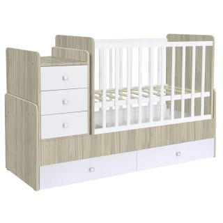 Kidsaw Kudl Cot bed Simple 1100 with drawer unit, elm-white