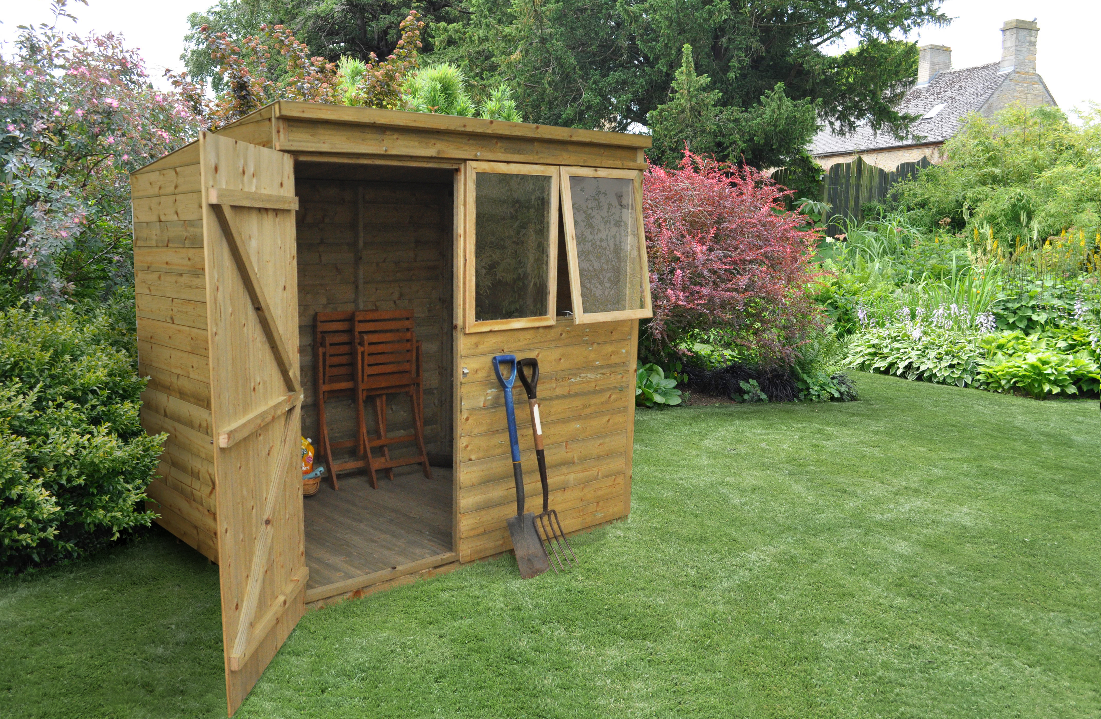 Pent shiplap pressure treated 5x7 forest from lemon for Garden shed 5x7